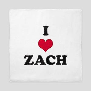 I Love Zach Queen Duvet