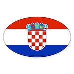 Croatia Flag Banner Oval Sticker