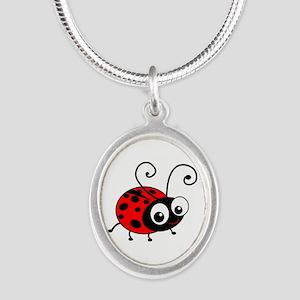 Cute Ladybug Silver Oval Necklace