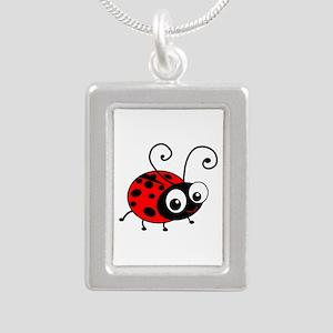 Cute Ladybug Silver Portrait Necklace