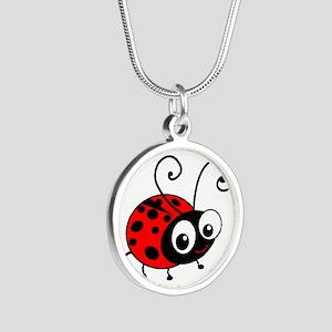 Cute Ladybug Silver Round Necklace