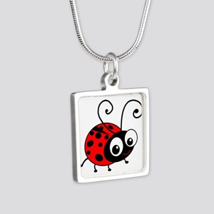 Cute Ladybug Silver Square Necklace