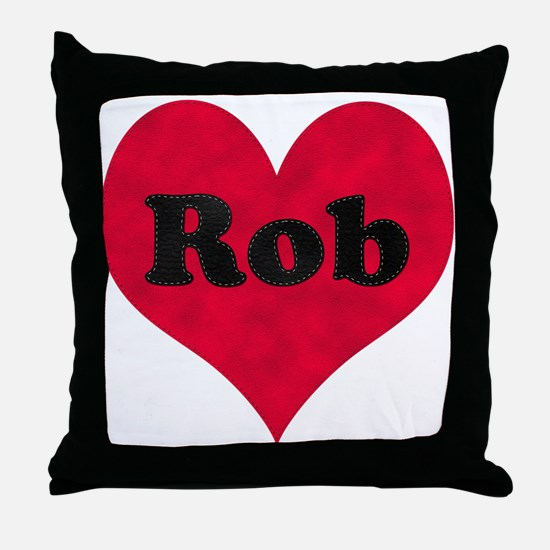 Rob Leather Heart Throw Pillow