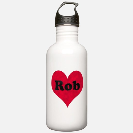 Rob Leather Heart Sports Water Bottle