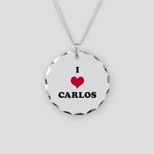 I Love Carlos Necklace Circle Charm
