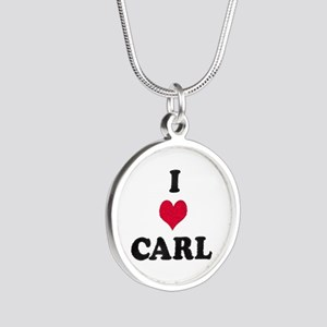 I Love Carl Silver Round Necklace