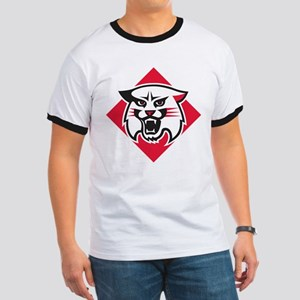 Davidson Wildcat Mascot Head Logo Ringer T