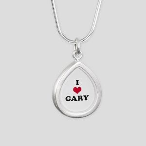 I Love Gary Silver Teardrop Necklace