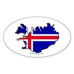 Iceland National Flag Outline Oval Sticker