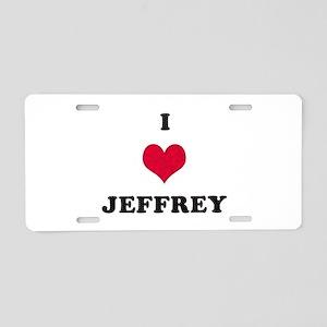I Love Jeffrey Aluminum License Plate