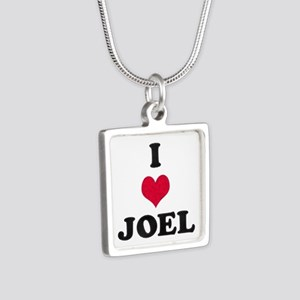 I Love Joel Silver Square Necklace