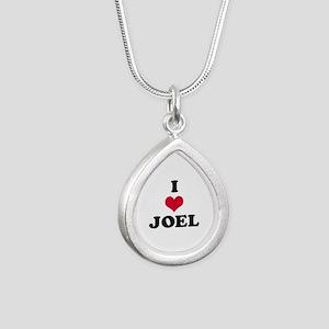 I Love Joel Silver Teardrop Necklace