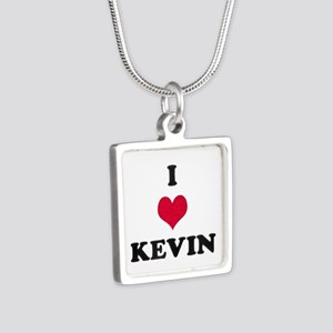 I Love Kevin Silver Square Necklace