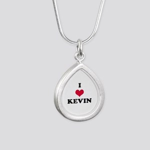 I Love Kevin Silver Teardrop Necklace