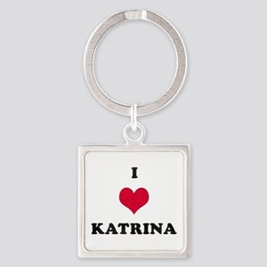 I Love Katrina Square Keychain