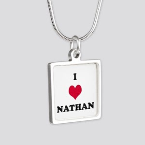 I Love Nathan Silver Square Necklace