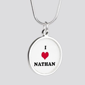 I Love Nathan Silver Round Necklace