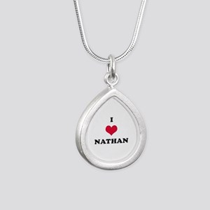 I Love Nathan Silver Teardrop Necklace