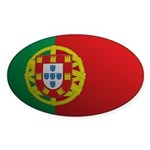 Portugal Flag Rounded Oval Sticker
