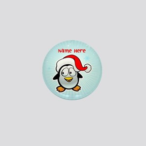 Penguin Santa Mini Button