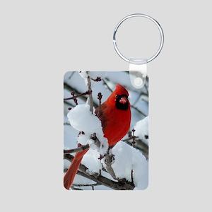 Snow Cardinal Aluminum Photo Keychain