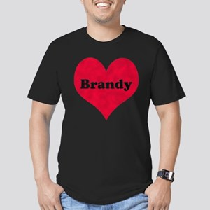 Brandy Leather Heart Men's Fitted T-Shirt (dark)