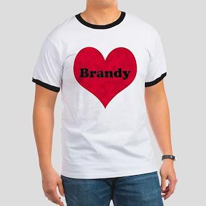 Brandy Leather Heart Ringer T