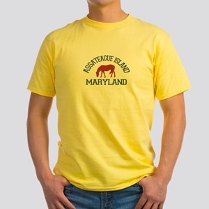 Assateague Island MD - Ponies Design. Yellow T-Shi