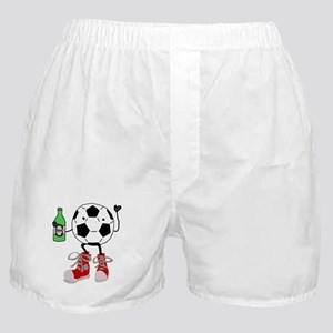 Funny Soccer Ball Man Drinking Beer Boxer Shorts
