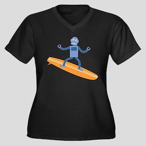 Surfing Robot Women's V-Neck Plus Size T-Shirt
