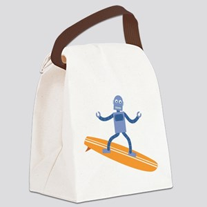 Surfing Robot Canvas Lunch Bag