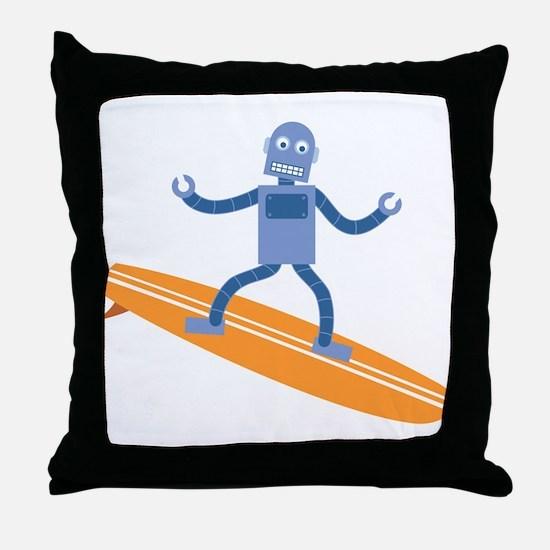 Surfing Robot Throw Pillow
