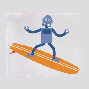 Surfing Robot Throw Blanket