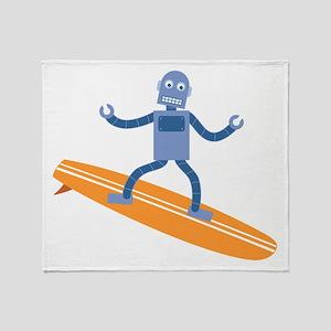Surfing Robot Throw Blanket