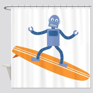 Surfing Robot Shower Curtain
