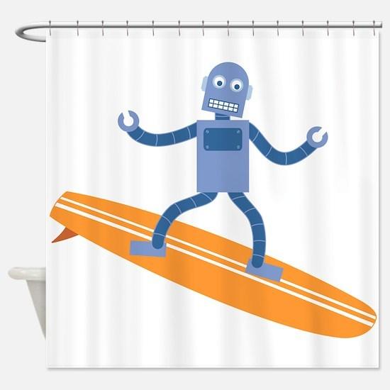 Surfing Robot Shower Curtain