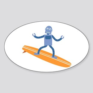 Surfing Robot Sticker (Oval)