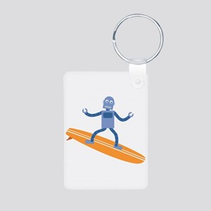 Surfing Robot Aluminum Photo Keychain