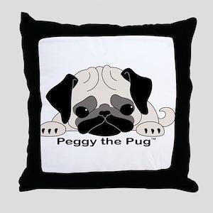 Peggy The Pug TM Throw Pillow