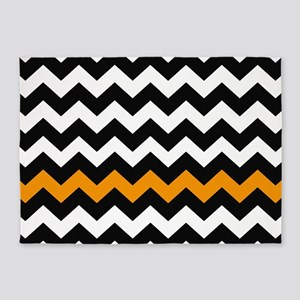 Black and Orange Chevron 5'x7'Area Rug