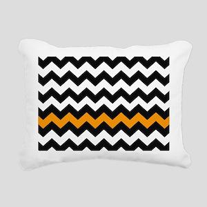 Black and Orange Chevron Rectangular Canvas Pillow