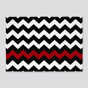 Black and Red Chevron 5'x7'Area Rug