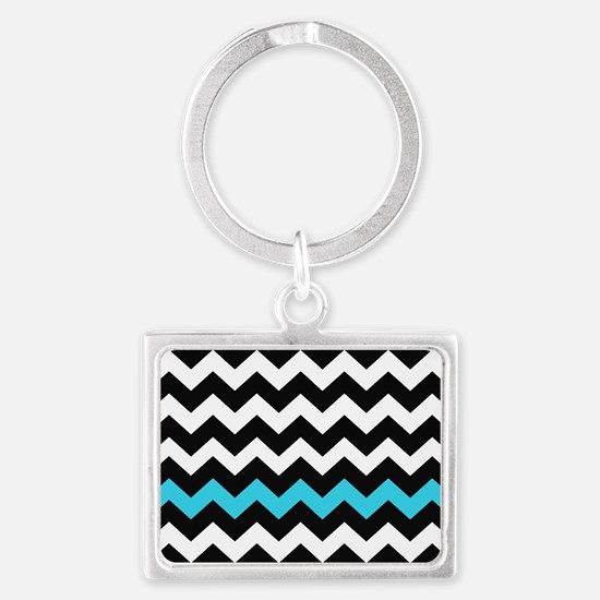 Black and Blue Chevron Landscape Keychain