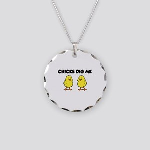 Chicks Dig Me Necklace Circle Charm