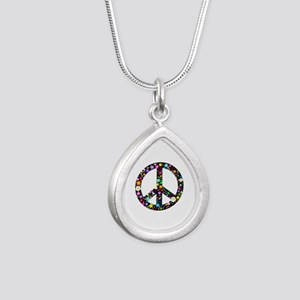 Hippie Flowery Peace Sign Silver Teardrop Necklace