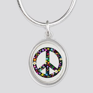 Hippie Flowery Peace Sign Silver Oval Necklace