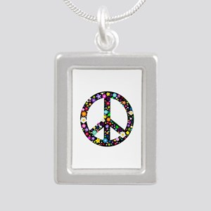Hippie Flowery Peace Sign Silver Portrait Necklace