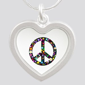 Hippie Flowery Peace Sign Silver Heart Necklace