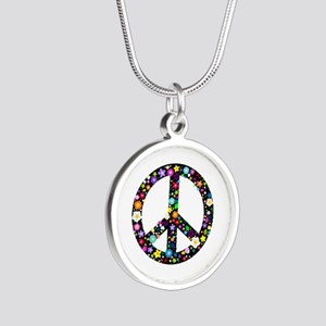 Hippie Flowery Peace Sign Silver Round Necklace