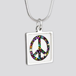 Hippie Flowery Peace Sign Silver Square Necklace